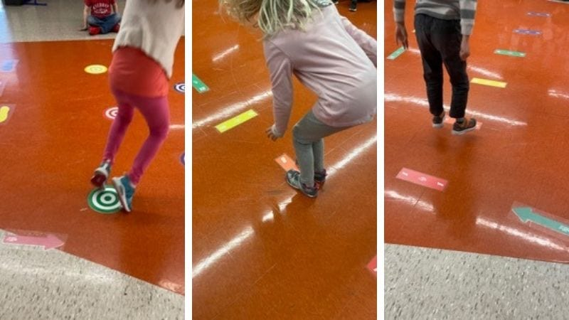 Kids using school sensory paths