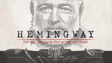 Image of Hemingway with promo about new documentary Hemingway Educator Guide
