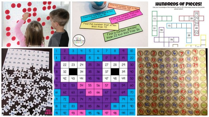 collage of Hundreds Chart Activities