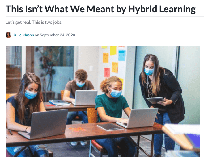Hybrid Learning article header