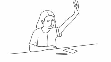 A student with her hand raised. I didn't allow hand raising in my class, here's why.