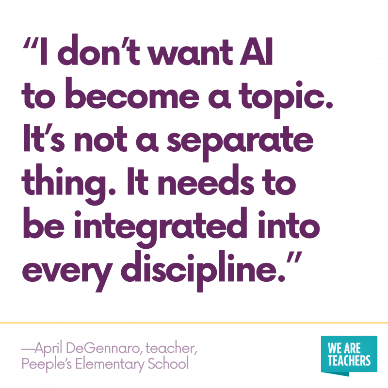 "Quote: ""I don't want AI to become a topic. It's not a separate thing. It needs to be integrated into every discipline."""