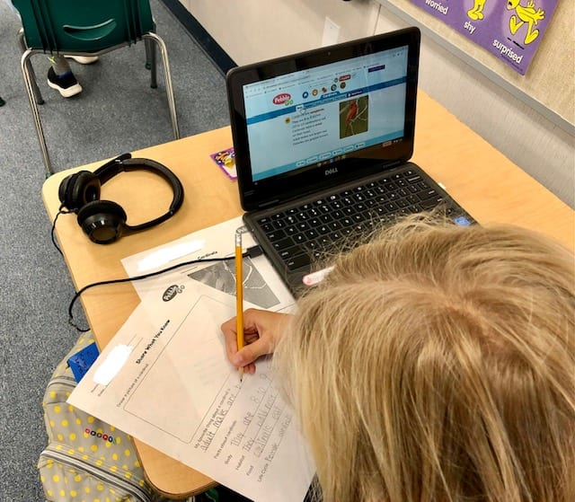Student completing the cardinal activity sheets while reading information on PebbleGo
