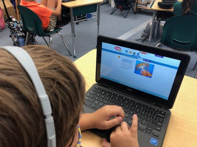 Student viewing the jellyfish page on PebbleGo