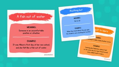Three idioms on a teal background.