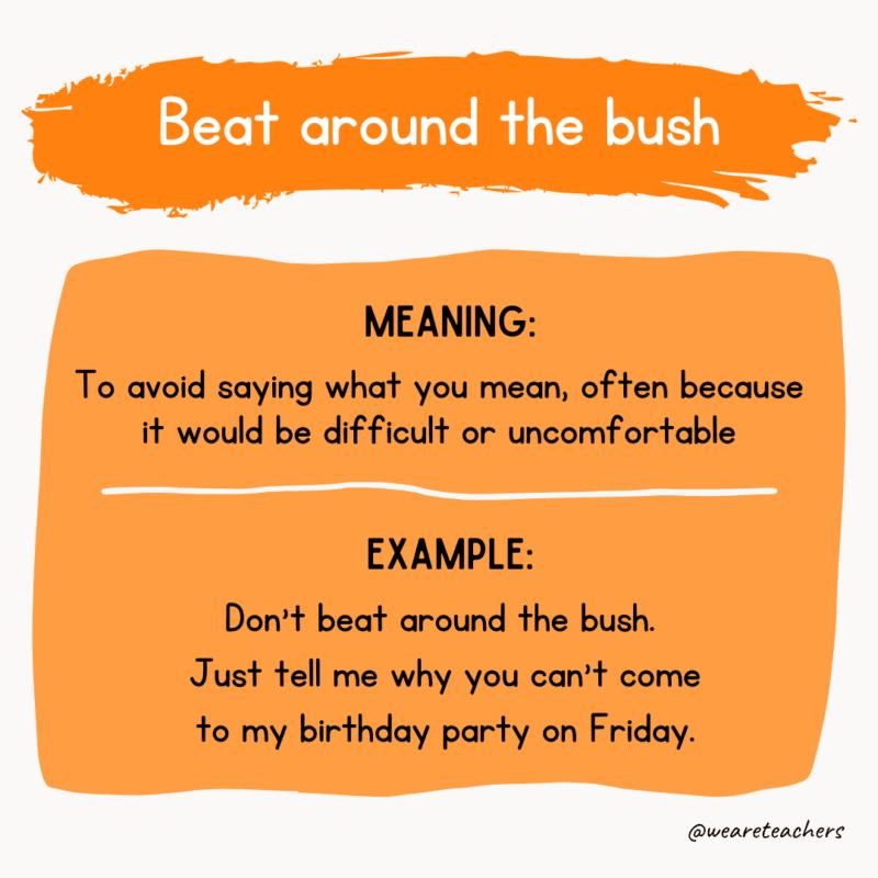 Beat around the bush idioms examples