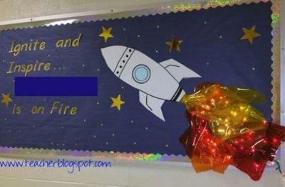 "Rocket ship classroom ""ignite and inspire"" bulletin board"