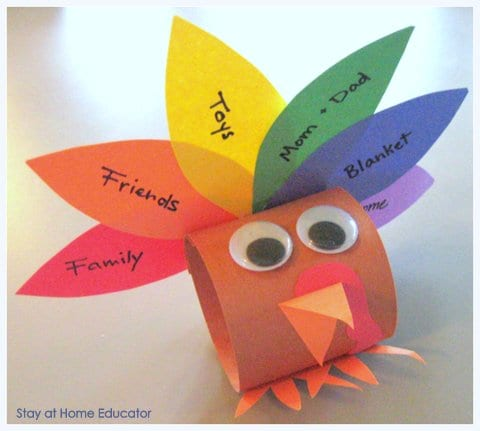 Turkey craft using paper and a toilet paper roll -- Gratitude Activities for Kids