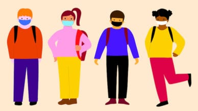 A cartoon sketch of four students wearing their backpacks and masks.