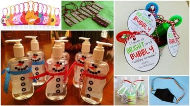6 Images of homemade necklaces, snowman hand sanitizer, masks, and play-doh.