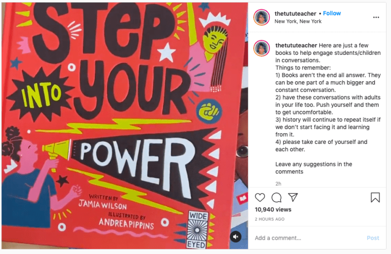 Instagram post from thetututeacher using books to talk about the Capitol