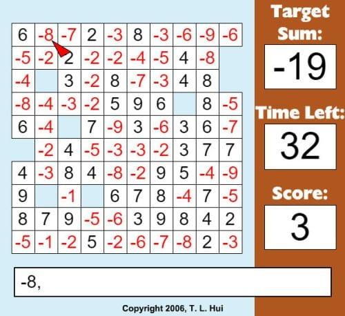 Integers Addition Blocks XP Math - The Best Online Interactive Math Games