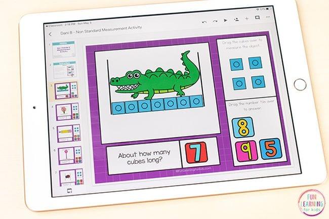 iPad showing alligator image measured by 7 blue blocks
