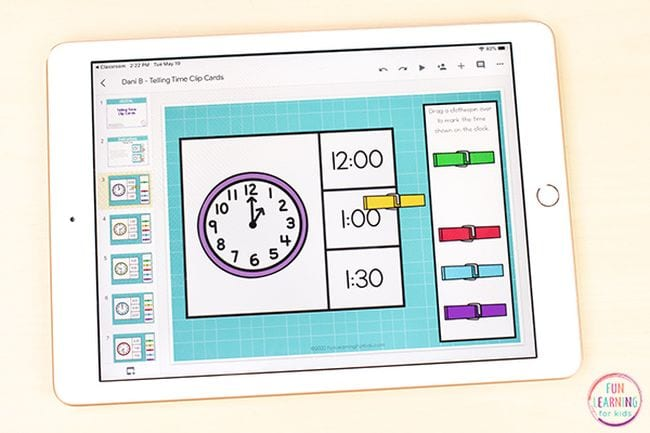 iPad showing clock with time of 1:00 with colorful clothespins
