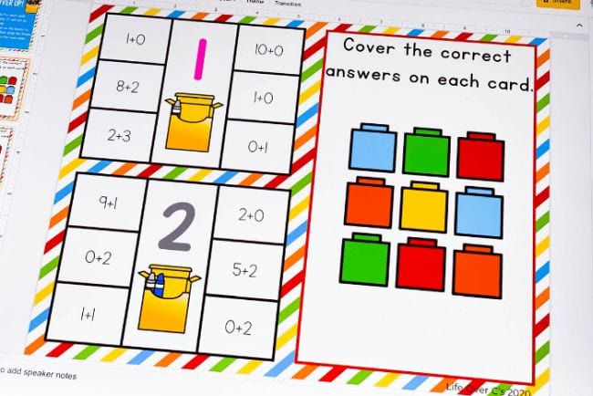 Various basic addition sums with colorful blocks