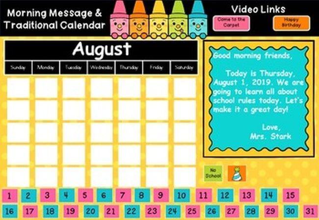 Blank calendar marked August, with colorful numbers and space for a message