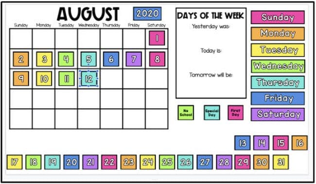 Blank grid marked August with colorful number and days of the week tiles (Interactive Online Calendars)