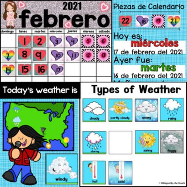 Calendar slides in English and Spanish, showing days of the month and types of weather
