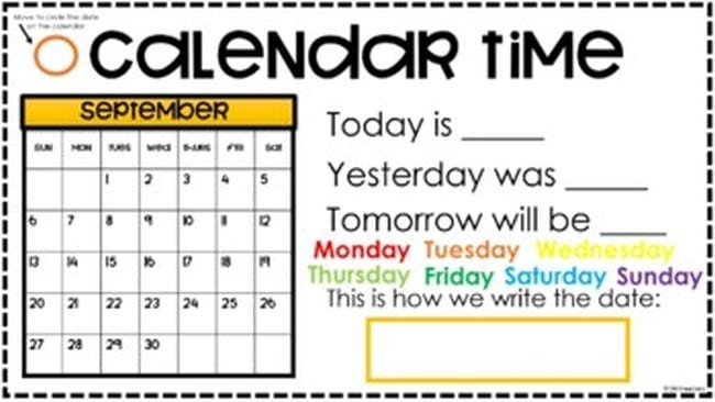 Slide called Calendar Time, showing September calendar and fill-in-the-blanks for Today Is, Tomorrow Is, and Yesterday Was