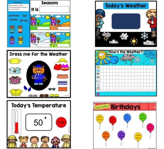 Slides labeled Seasons, Today's Weather, Dress Me For the Weather, Today's Temperature, and Birthdays (Interactive Online Calendars)