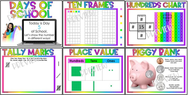 Assortment of activities representing number on the calendar, including ten frames, tally marks, place value, and money (Interactive Online Calendars)