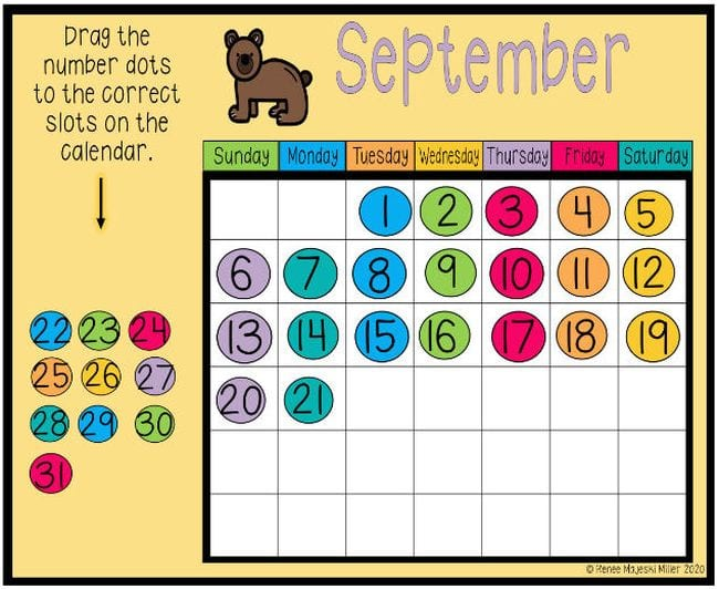 Calendar grid with colorful circles showing numbers that can be dragged into place (Interactive Online Calendars)