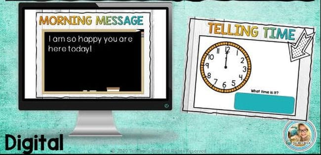 """Slide marked """"Morning Message"""" with a blackboard for the message, and second slide marked Telling Time showing a clock (Interactive Online Calendars)"""