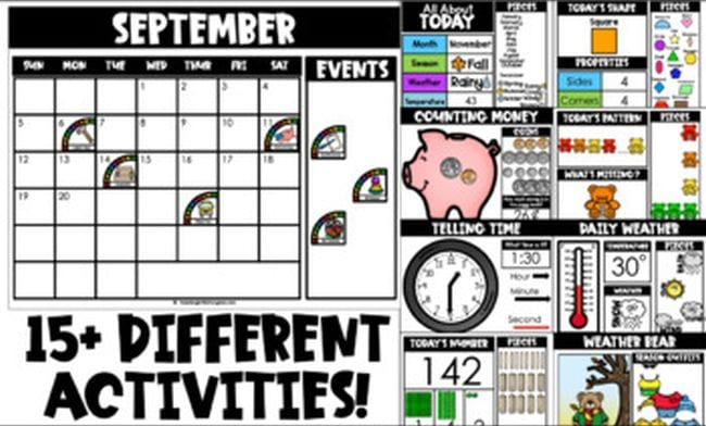 Collage of images showing calendar time activities, including weather, daily numbers, and telling time