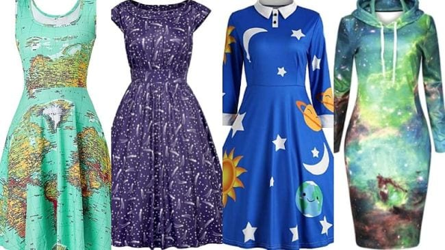 Fun patterned dresses with maps, stars, galaxies, and more