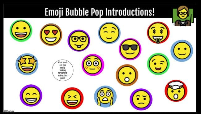 Emoji Bubble Pop Introductions! with various face emojis and facts about a teacher