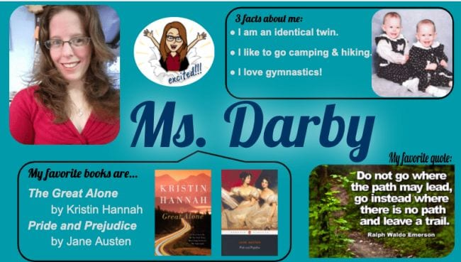 Name tent with photo of teacher and fun facts (Introduce Yourself to Students)