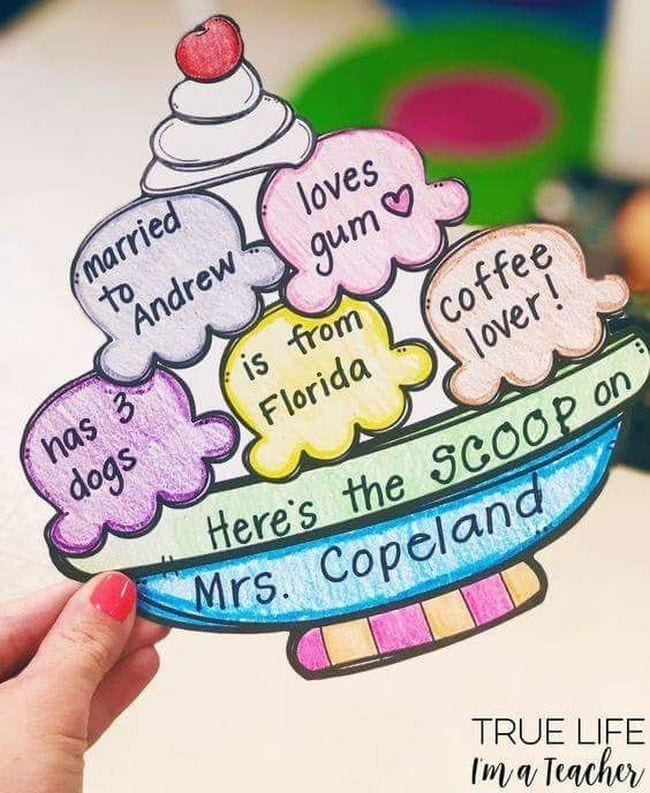 Paper ice cream sundae with fun facts about a teacher written on each scoop