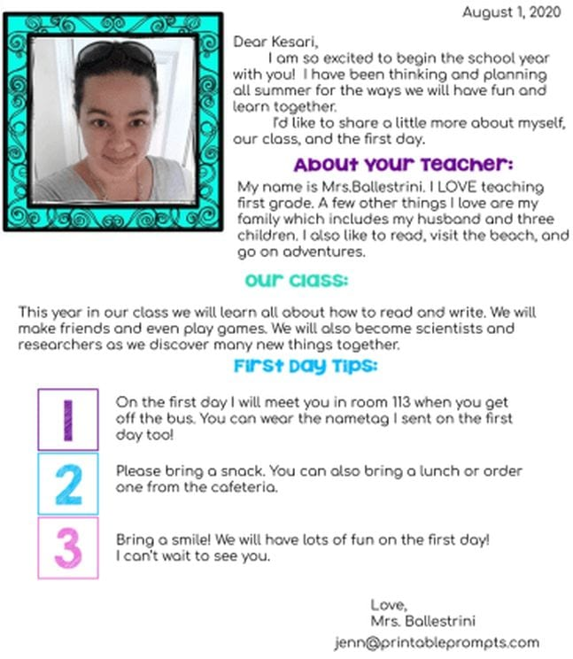 Teacher introduction letter with photo (Introduce Yourself to Students)