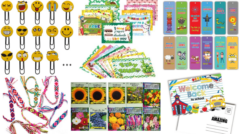 20 Free Items to Send Students in the Mail including Bookmarks, Bracelets, and Paper Clips.