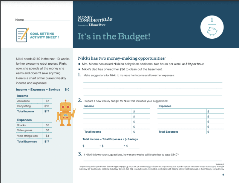 A financial readiness activity that teaches students goal setting and budget skills.