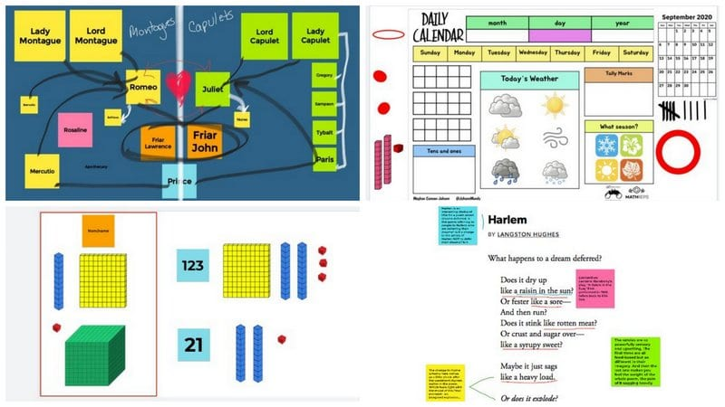 Collage of Jamboard templates and activities