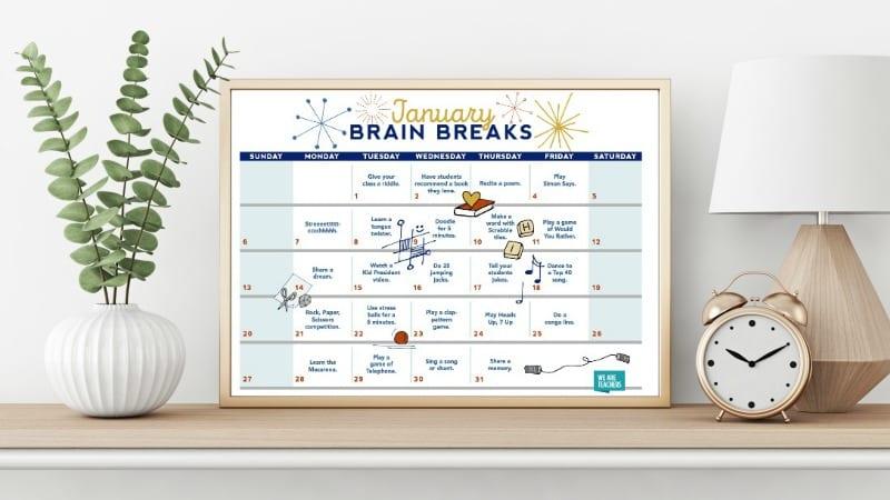 Brain Breaks Free Printable Calendar for Teachers and Students
