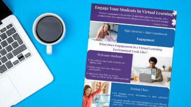 Engage Students in Virtual Learning printable checklist (full color version) on blue background with laptop and coffee cup