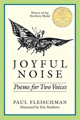 Book cover for Joyful Noise: Poems for Two Voices, as an example of poetry books for kids