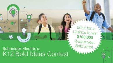 Happy young students wearing backpacks running and jumping - K12 Bold Ideas Contest