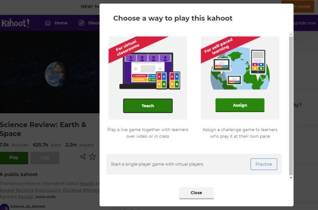Screenshot showing Kahoot! screen to choose between playing a live game or assigning it for self-paced learning (Kahoot! Ideas)