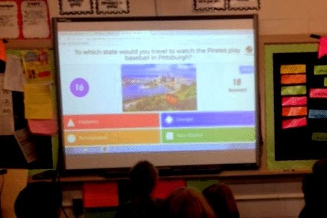 "Whiteboard showing Kahoot! question: ""To what city would you travel to see the Pirates play in Pittsburgh?"" (Kahoot! Ideas)"