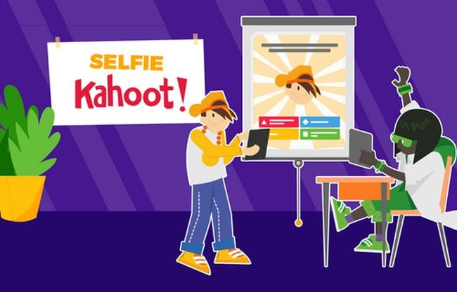 "Illustration saying ""Selfie Kahoot"" showing students playing in class"