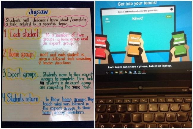 Jigsaw method anchor chart and screenshot of Kahoot! team mode