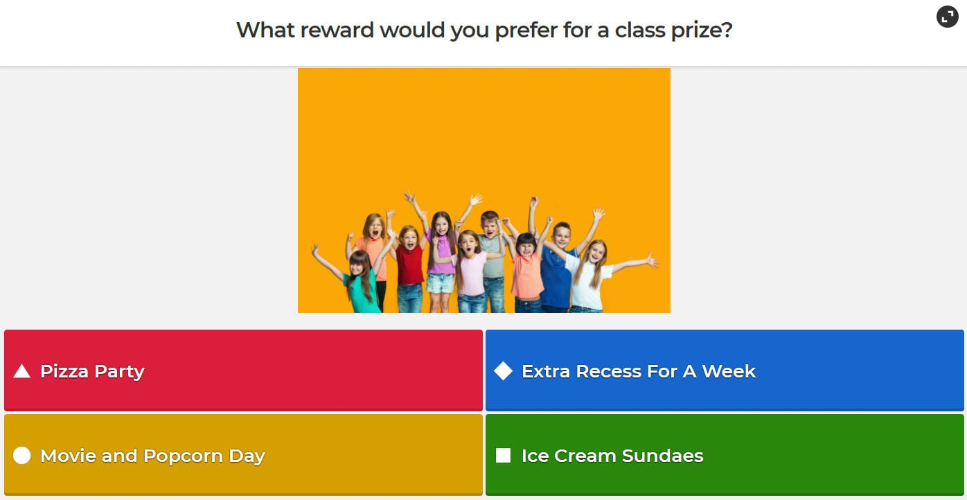 Kahoot! slide asking What would you prefer for a class reward?