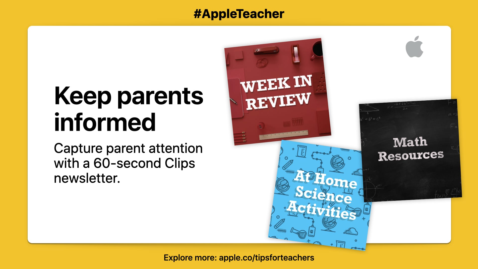 """Capture parent attention with a 60-second Clips newsletter."" Picture of three topics on white background with yellow border,"