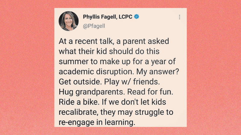 Tweet from Phyllis Fagel about the importance of play