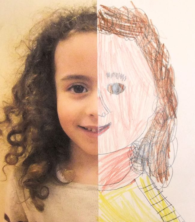 Paper divided in half, with one half showing photo of a child, the other half a crayon drawing of the child