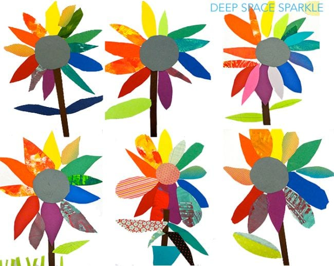 Flowers made of scraps of paper and fabric representing the color wheel (First Grade Art)