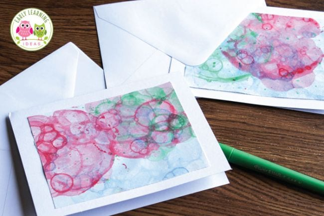 Notecards made with bubble paint prints in pink and green